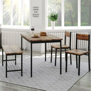Dining Table, Chair And Bench Set 4 Wooden Steel Frame Industrial Style Retro Kitchen Dining Table Set