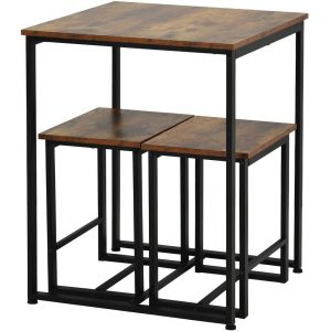 Dining Table With 2 Stools Set 3 Wooden Steel Frame Industrial Style Retro Kitchen Dining Table Set