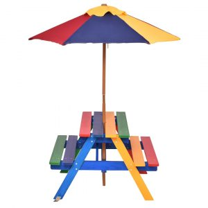 Freeport Park Kids Picnic Table, Garden Wooden Bench With Removable Umbrella, Outdoor Children Furniture P