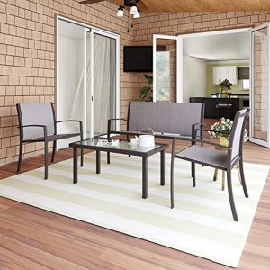 Garden Furniture 4 Seater, Rectangular Glass Coffee Table 2 PVC-coated polyester Armchairs 1 Double Seat Sofa, 3 + 1 Piece Indoor Outdoor Dining Set F