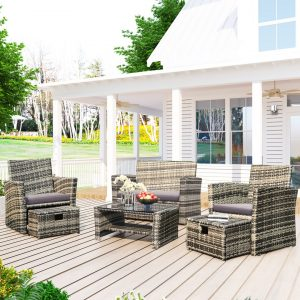 Garden Furniture Set, 6 Pieces Outdoor Patio Rattan Furniture, 6 Seater Sofa Set With Coffee Table And Footstools, Grey Rattan With Grey Cushion
