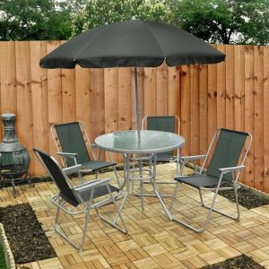 Garden Patio Furniture Set 4 Seater Dining Set Parasol Glass Table And Chairs 6 Piece Set Black in , Green