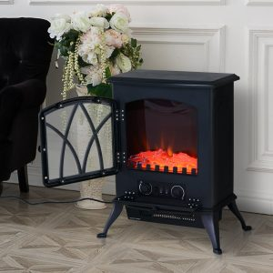 HOMCOM 1850W Flame Effect Electric Free Standing Fireplace W/Fan and Log Burning Stove Heater-Black