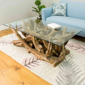 Lyre Branchwood Teak Rectangular Coffee Table with Glass Top