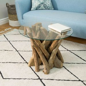 Lyre Branchwood Teak Round Coffee Table with Glass Top
