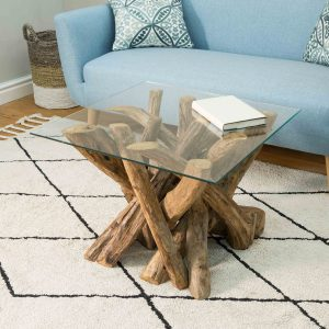 Lyre Branchwood Teak Square Coffee Table with Glass Top