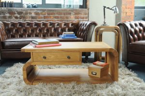 Modern Oak Living Coffee Table with Drawer
