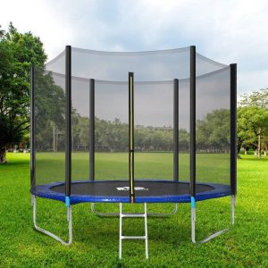 Outdoor Trampoline Starter, Kids Trampoline, Garden Trampoline With Safety Enclosure Netting And Ladder Edge Cover Jumping Mat