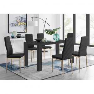 Pivero 6 Black Dining Table And 6 Black Gold Leg Milan Chairs