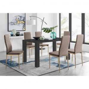 Pivero 6 Black Dining Table And 6 Cappuccino Gold Leg Milan Chairs
