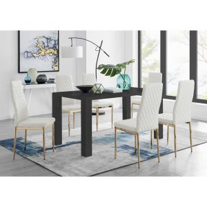 Pivero 6 Black Dining Table And 6 White Gold Leg Milan Chairs