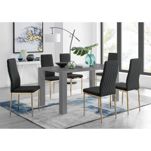Pivero 6 Grey Dining Table And 6 Black Gold Leg Milan Chairs