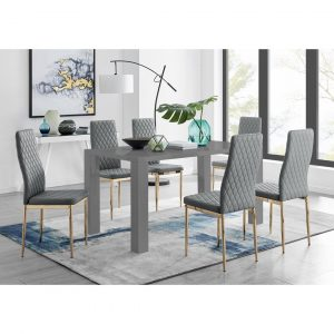 Pivero 6 Grey Dining Table And 6 Grey Gold Leg Milan Chairs