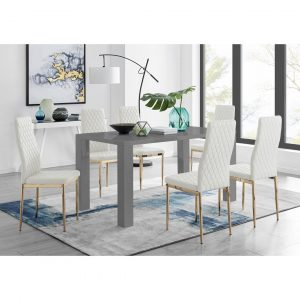 Pivero 6 Grey Dining Table And 6 White Gold Leg Milan Chairs
