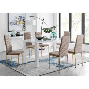Pivero 6 White Dining Table And 6 Cappuccino Gold Leg Milan Chairs
