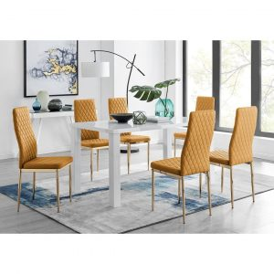 Pivero 6 White Dining Table And 6 Mustard Gold Leg Milan Chairs