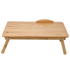 Portable Foldable & Adjustable Angle Wooden Bamboo Laptop Table Sofa Bed Office Laptop Stand (62*34Cm)