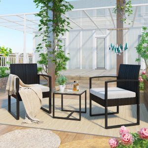 Rattan Garden Furniture Set 3 Piece Patio Rattan Furniture Sofa Set With 2 Armchairs And 1 Table Outdoor Conservatory Indoor