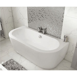 Wickes Blend D-Shaped Bath with Panel - 1700mm x 800mm