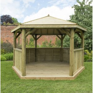 4.5 x 4m Wooden Gazebo with Timber Roof