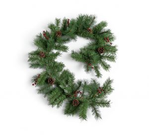Argos Home 2.7m Berry and Cone Christmas Garland - Green