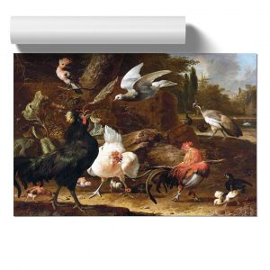 Birds in a Park by Melchior D'Hondecoeter - Unframed Painting