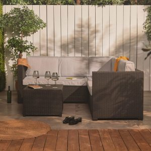 Demery 115Cm Wide Outdoor Right Hand Facing Garden Corner Sofa with Cushions