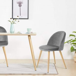 Dining Chairs Grey Velvet Kitchen Upholstered Chairs With Backrest And Wooden Style Metal Legs, Lounge Counter Chairs Reception Chairs For Home Office