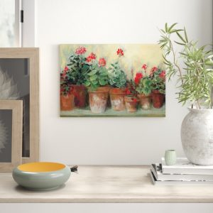 'Kathleen's Geraniums' Graphic Art Print on Wrapped Canvas
