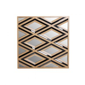 Mckeown Glass Framed Wall Mounted Accent Mirror in Black/Golden