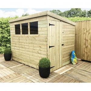 Quenton 7 ft. W x 6 ft. D Solid Wood Garden Shed