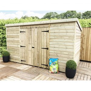 Sayyed 14 ft. W x 4 ft. D Solid Wood Garden Shed