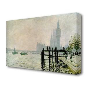 The Thames and the Houses of Parliament by Claude Monet - Painting Print on Wrapped Canvas